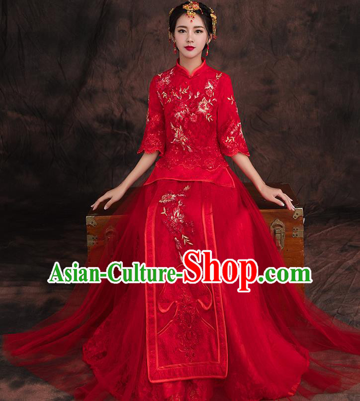 Traditional Chinese Embroidered Flowers Xiuhe Suit Ancient Wedding Red Dress Toast Cheongsam for Women