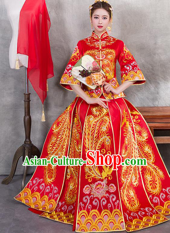 Traditional Chinese Ancient Bottom Drawer Embroidered Phoenix Peony Xiuhe Suit Wedding Dress Toast Red Cheongsam for Women