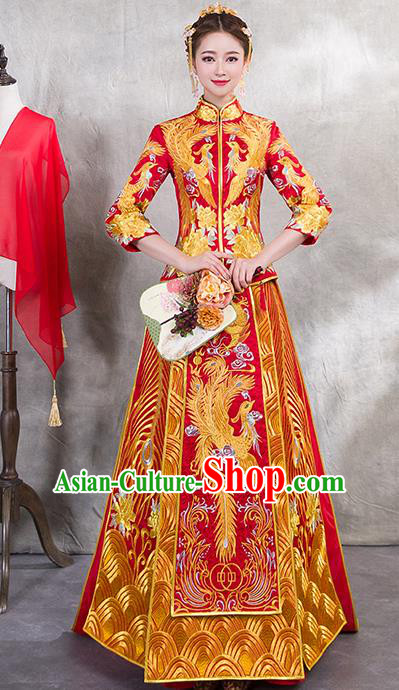Traditional Chinese Ancient Trailing Bottom Drawer Embroidered Phoenix Xiuhe Suit Wedding Dress Toast Red Cheongsam for Women