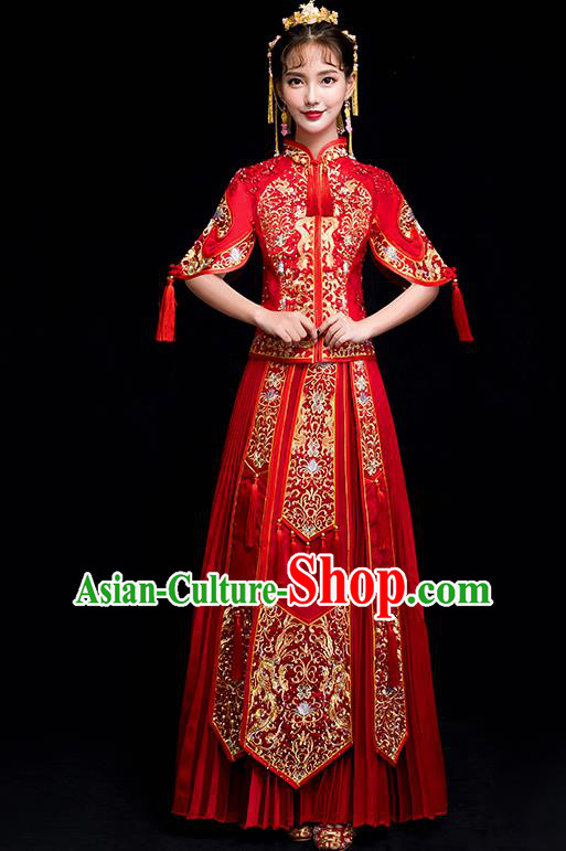 Chinese Traditional Wedding Toast Embroidered Costumes China Ancient Bride Xiuhe Suit Clothing for Women