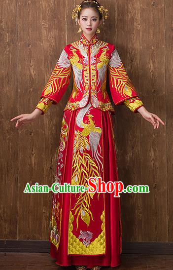 Traditional Chinese Ancient Embroidered Phoenix Bottom Drawer Xiuhe Suit Wedding Dress Toast Cheongsam for Women