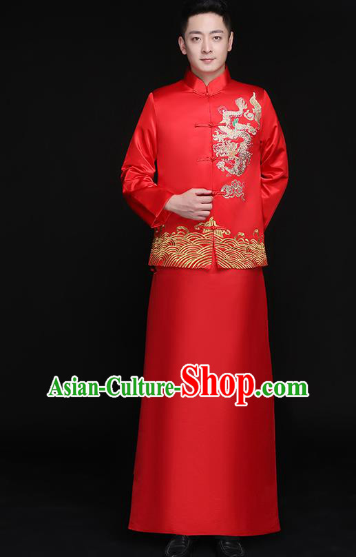 Chinese Traditional Bridegroom Embroidered Dragon Costume Ancient Tang Suit Clothing for Men