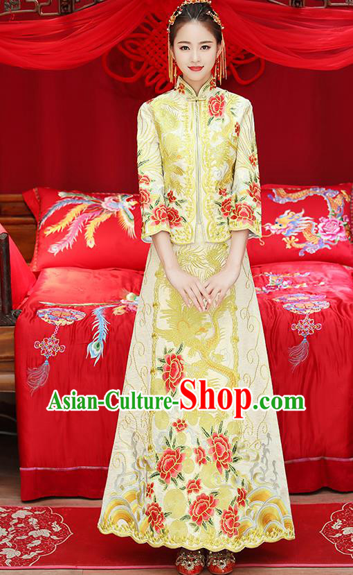 Traditional Chinese Ancient Embroidered Phoenix Peony Yellow Toast Cheongsam Bottom Drawer Xiuhe Suit Wedding Dress for Women