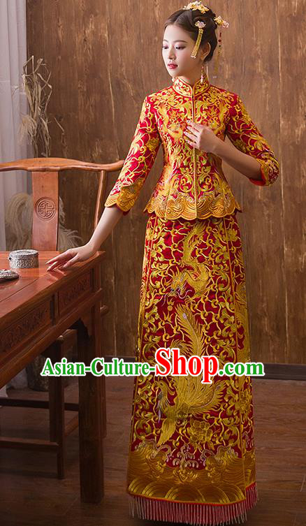 Traditional Chinese Ancient Red Bottom Drawer Embroidered Dragon Phoenix Xiuhe Suit Wedding Dress Toast Cheongsam for Women