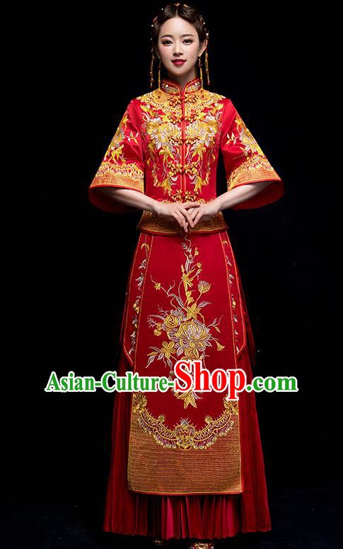Chinese Traditional Wedding Embroidered Chrysanthemum Dress Ancient Bride Xiuhe Suit Clothing for Women