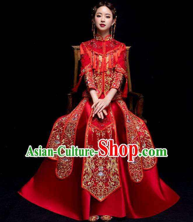 Chinese Traditional Wedding Embroidered Costume Ancient Bride Xiuhe Suit Clothing for Women