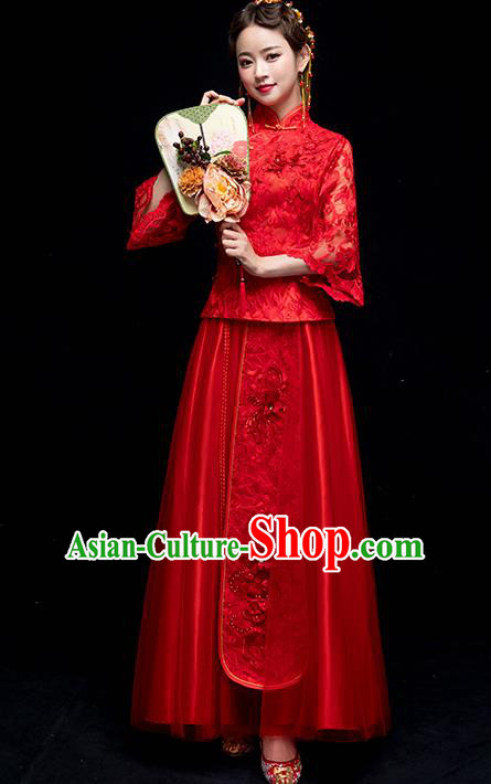 Chinese Traditional Wedding Embroidered Red Lace Costume Ancient Bride Xiuhe Suit Clothing for Women