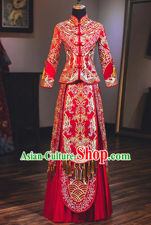 Chinese Traditional Wedding Embroidered Red Bottom Drawer Costume Ancient Bride Xiuhe Suit Clothing for Women