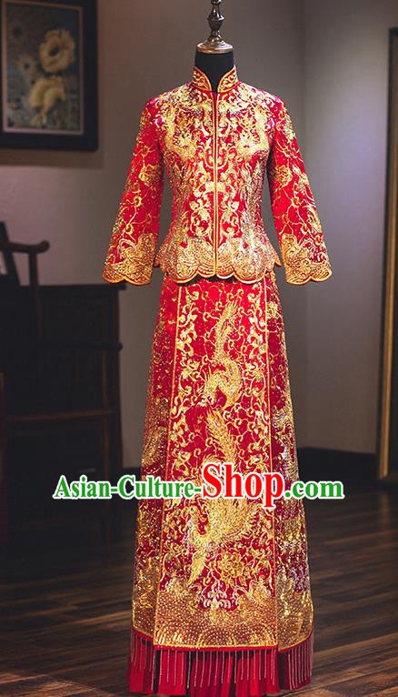 Chinese Traditional Toast Clothing Delicate Embroidered Wedding Dress Ancient Bride Longfeng Flown Xiuhe Suit for Women