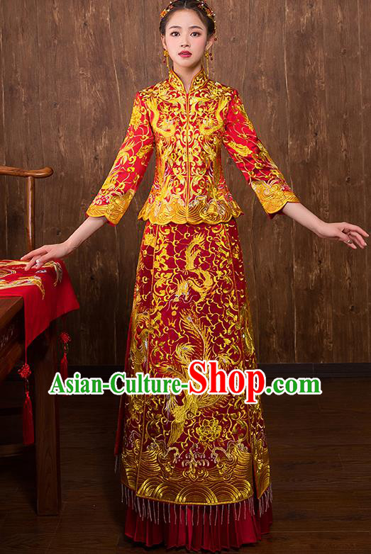 Chinese Traditional Embroidered Golden Phoenix Xiuhe Suit Wedding Dress Ancient Bride Cheongsam for Women