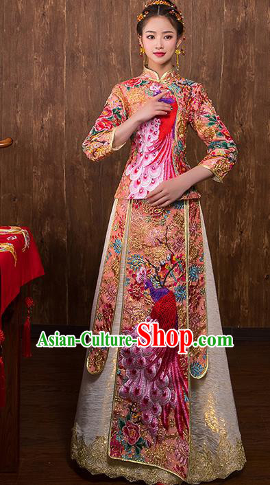 Chinese Traditional Embroidered Peacock Pink Xiuhe Suit Wedding Dress Ancient Bride Cheongsam for Women