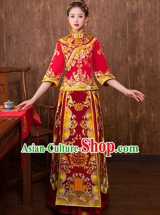 Chinese Traditional Embroidered Trailing Xiuhe Suit Wedding Dress Ancient Bride Cheongsam for Women