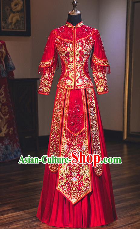 Chinese Traditional Red Wedding Dress Delicate Embroidered Bottom Drawer Ancient Bride Xiuhe Suit Costume for Women