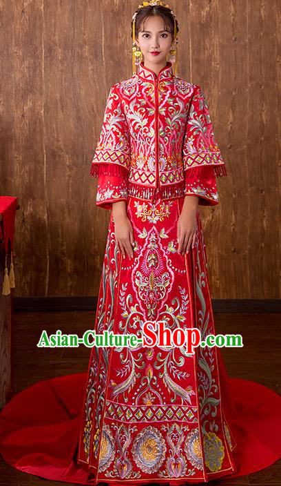 Chinese Traditional Bridal Xiuhe Suit Embroidered Red Trailing Wedding Dress Ancient Bride Cheongsam for Women