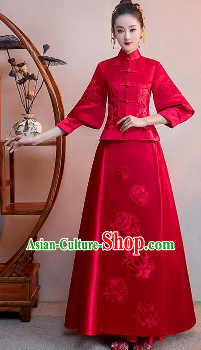 Chinese Traditional Bridal Red Toast Xiuhe Suit Embroidered Peony Wedding Dress Ancient Bride Cheongsam for Women