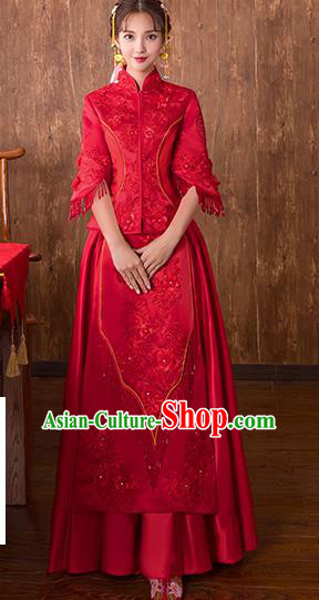 Chinese Traditional Bridal Embroidered Toast Xiuhe Suit Wedding Dress Ancient Bride Red Cheongsam for Women