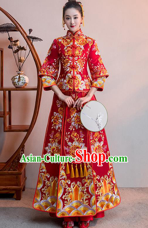 Chinese Traditional Bridal Red Xiuhe Suit Embroidered Flowers Wedding Dress Ancient Bride Cheongsam for Women