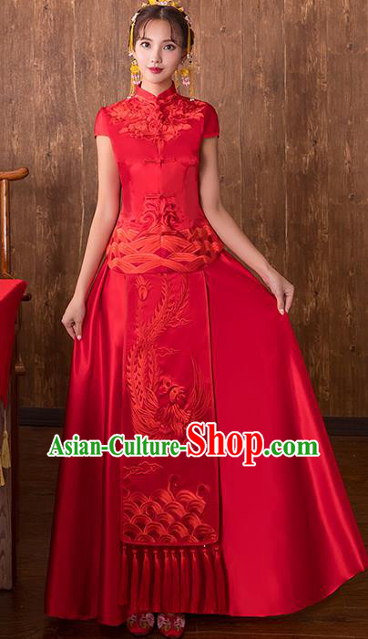 Chinese Traditional Embroidered Phoenix Wedding Costume Bridal Xiuhe Suit Ancient Toast Cheongsam for Women