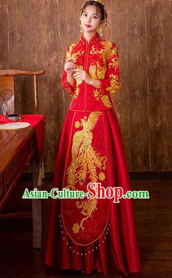 Chinese Traditional Embroidered Phoenix Bottom Drawer Bridal Wedding Xiuhe Suit Ancient Toast Cheongsam for Women