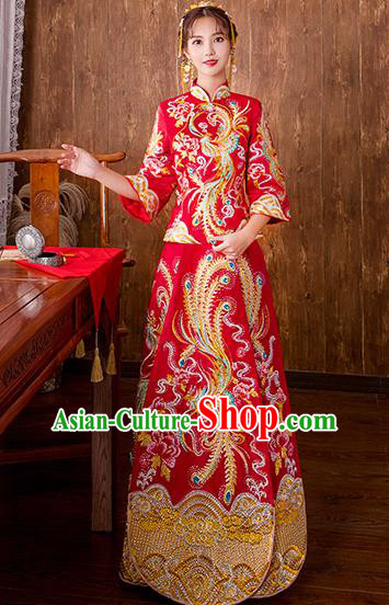 Chinese Traditional Embroidered Diamante Phoenix Bottom Drawer Bridal Wedding Xiuhe Suit Ancient Toast Cheongsam for Women
