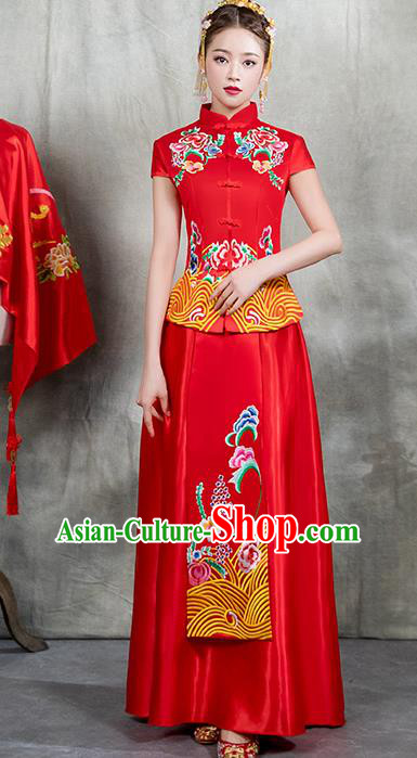 Chinese Traditional Embroidered Peony Bridal Xiuhe Suit Ancient Wedding Toast Red Cheongsam Dress for Women