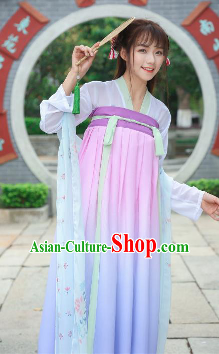 Chinese Ancient Fairy Dress Tang Dynasty Princess Embroidered Hanfu Clothing for Women