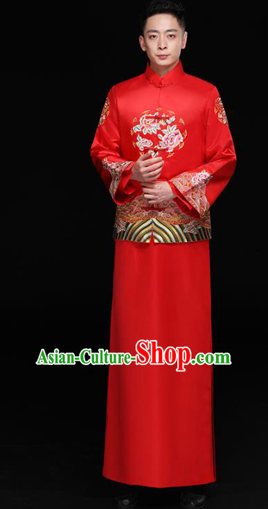Chinese Traditional Bridegroom Embroidered Peony Costume Ancient Tang Suit Red Clothing for Men