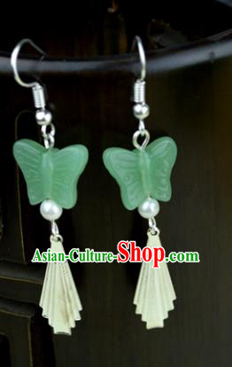 Chinese Traditional Ancient Green Butterfly Earrings Accessories Hanfu Eardrop for Women