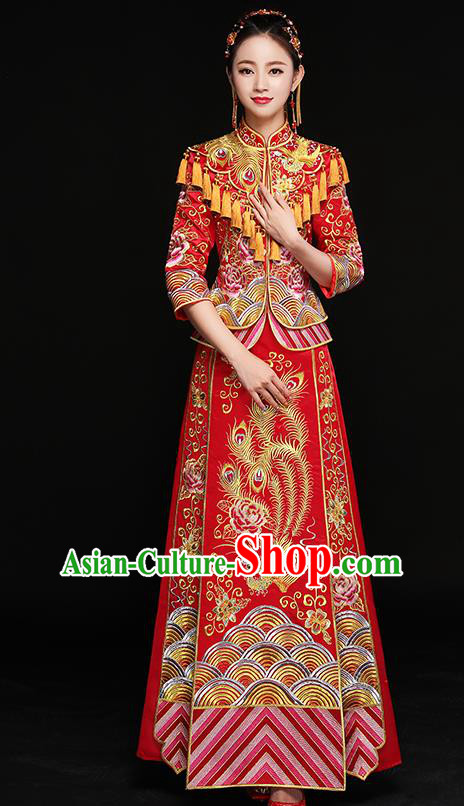 Chinese Traditional Embroidered Phoenix Xiuhe Suit Ancient Bottom Drawer Wedding Dress for Women