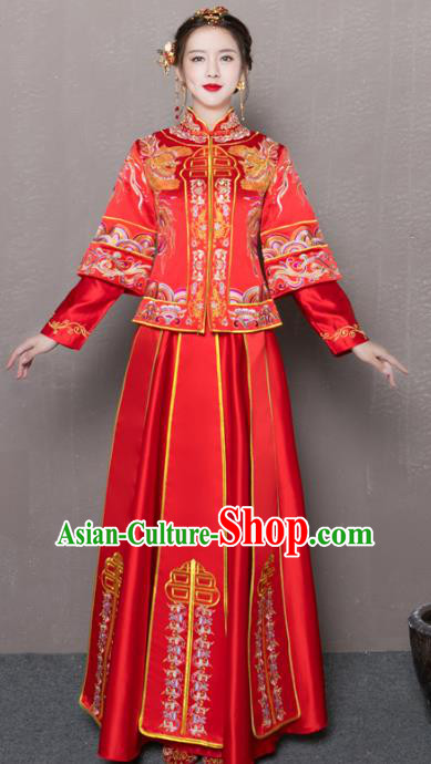 Chinese Traditional Xiuhe Suit Longfeng Flown Ancient Embroidered Red Wedding Dress for Women