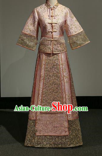Chinese Traditional Wedding Xiuhe Suit Ancient Longfeng Flown Bride Embroidered Pink Dress for Women