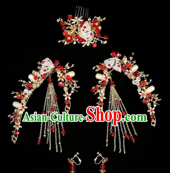 Chinese Traditional Wedding Hair Accessories Bride Hairpins Crystal Hair Comb Headwear for Women