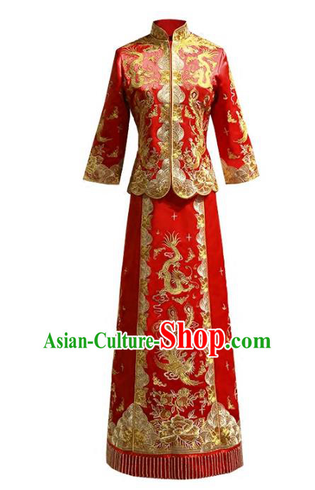Chinese Traditional Wedding Red Xiuhe Suit Ancient Longfeng Flown Bride Embroidered Cheongsam Dress for Women
