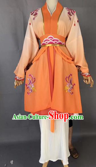 Chinese Traditional Beijing Opera Maidservant Orange Dress Peking Opera Diva Costumes for Adults