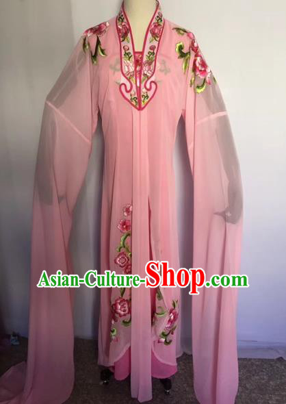 Chinese Traditional Peking Opera Palace Lady Pink Dress Beijing Opera Diva Costumes for Adults