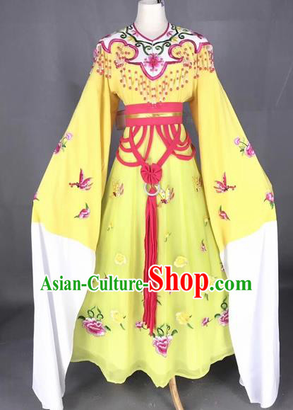 Chinese Traditional Beijing Opera Palace Princess Yellow Dress Peking Opera Diva Costumes for Adults