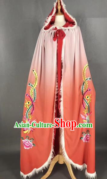 Chinese Traditional Peking Opera Princess Red Cloak Beijing Opera Diva Embroidered Phoenix Costumes for Adults
