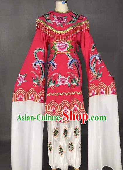 Chinese Traditional Peking Opera Imperial Consort Rosy Dress Beijing Opera Diva Embroidered Phoenix Costumes for Adults