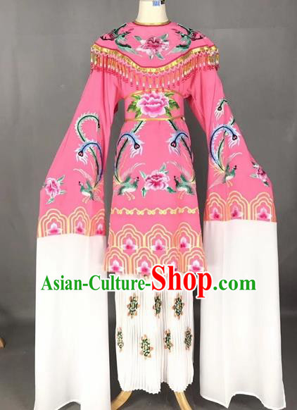 Chinese Traditional Peking Opera Imperial Consort Pink Dress Beijing Opera Diva Embroidered Phoenix Costumes for Adults