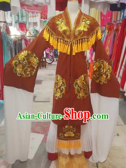 Chinese Traditional Peking Opera Pantaloon Dress Beijing Opera Old Women Embroidered Costumes for Adults