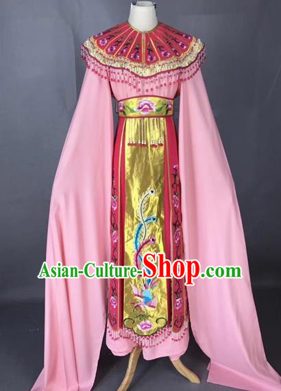 Chinese Peking Opera Actress Pink Dress Traditional Beijing Opera Princess Embroidered Costumes for Adults