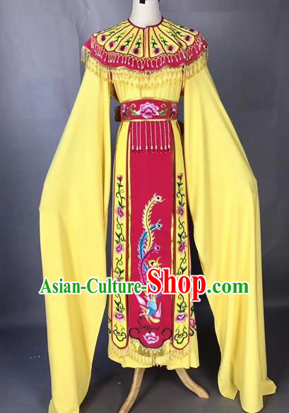Chinese Peking Opera Actress Yellow Dress Traditional Beijing Opera Princess Embroidered Costumes for Adults