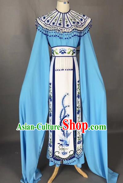 Chinese Peking Opera Actress Blue Dress Traditional Beijing Opera Princess Embroidered Costumes for Adults
