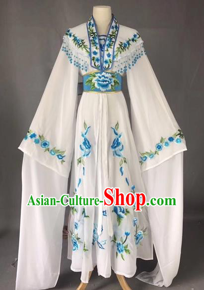 Chinese Peking Opera Actress White Dress Traditional Beijing Opera Rich Lady Embroidered Costumes for Adults
