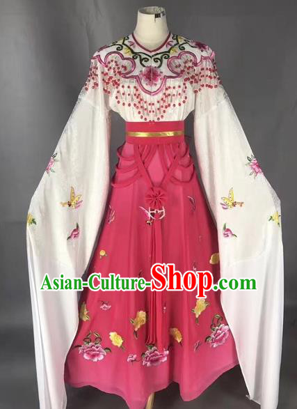 Chinese Peking Opera Diva Rosy Dress Traditional Beijing Opera Rich Lady Embroidered Costumes for Adults