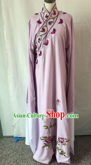Chinese Traditional Beijing Opera Niche Embroidered Peony Purple Robe Peking Opera Young Men Costume for Adults