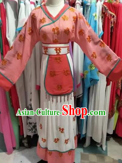 Traditional Chinese Peking Opera Mui Tsai Pink Costume Beijing Opera Maidservants Dress for Adults