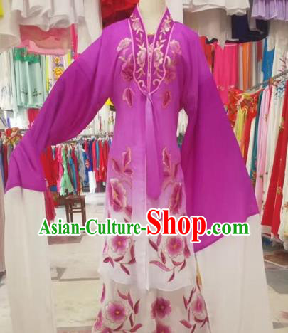 Chinese Peking Opera Diva Purple Dress Traditional Beijing Opera Rich Lady Embroidered Costumes for Adults