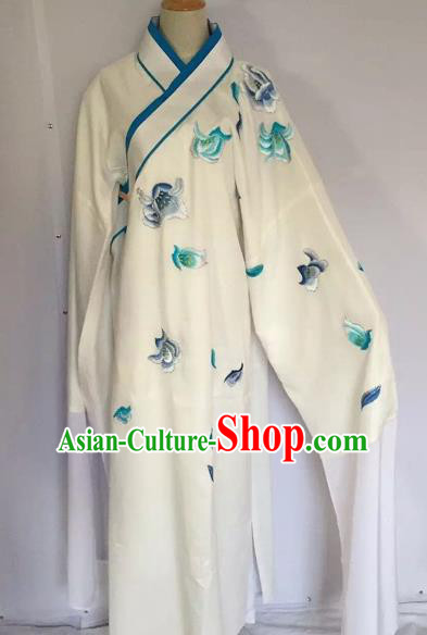 Chinese Traditional Beijing Opera Scholar White Robe Peking Opera Niche Clothing for Adults