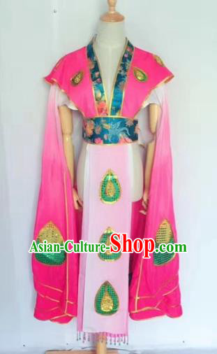 Chinese Peking Opera Butterfly Lovers Rosy Dress Traditional Beijing Opera Young Lady Embroidered Costumes for Adults